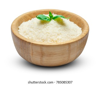 grated Parmesan cheese in wooden bowl on white background