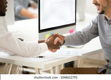 Grateful black african client handshaking white financial advisor, diverse partners shaking hands making agreement as concept of gratitude, trust and appreciation for good contract, close up view