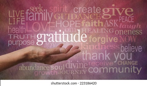 Gratitude Attitude - Female hand outstretched with palm up and the word 'Gratitude' hovering above with a pink and purple stone effect background covered in different sized 'Gratitude' words
