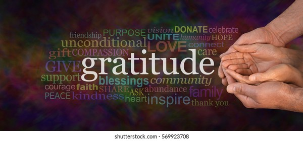 Gratitude Attitude Website Campaign Banner -  Male hands  cradling female cupped hands on a wide warm dark multicolored background with a GRATITUDE word cloud