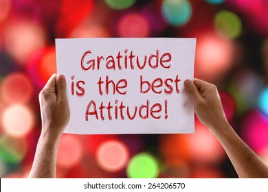 Gratitude is the Best Attitude card with bokeh background