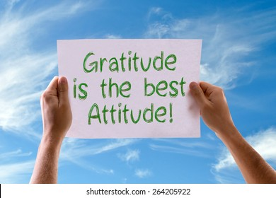 Gratitude is the Best Attitude card with sky background
