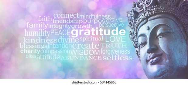 Gratitude Buddhism Word Cloud Banner -  Close up of blue grunge style Buddha head on wide pink blue bokeh background with a GRATITUDE word cloud on left sid