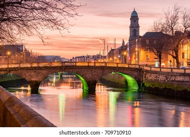 Grattan Bridge in Dublin, Ireland on the evening .This historic bridge spans the River Liffey in Dublin, Ireland.