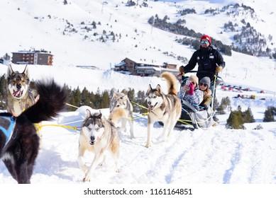 Grau Roig Andorra :  March 2 2018Trineos tirados por perros en la Estacion de Grandvalira, Grau Roig Andorra.