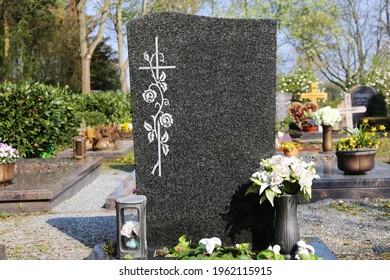 Grave with beautiful gravestone, close up
