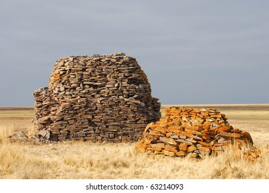 grave, burial mound of ancient scythians, Kazakhstan