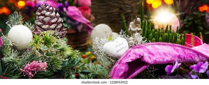 """Grave decorations, grave arrangement """"in silent memory"""""""