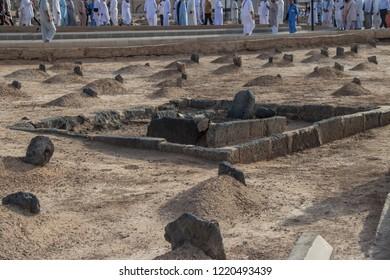 Grave of Ibrahim (Son of Prephet Muhammad) at Jannat-ul-Baqi. Garden of Heaven. Medina - Saudi Arabia: 2 September 2018