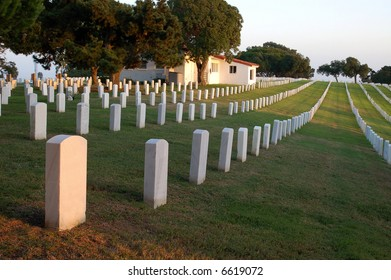 Grave markers in a military cemetery; Fort Rosecrans National Cemetery; San Diego, California.