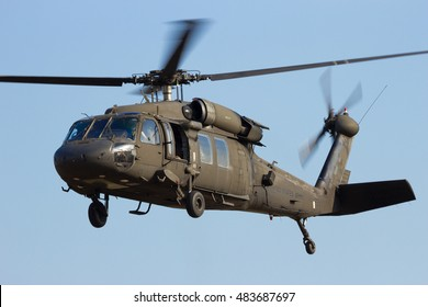 GRAVE, NETHERLANDS - SEP 17, 2014: American Army Blackhawk helicopter taking off.