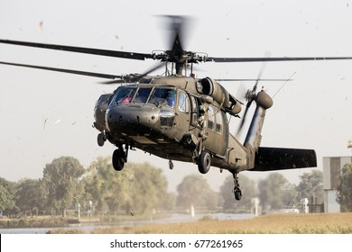GRAVE, NETHERLANDS - SEP 17, 2014: Two American Army Blackhawk helicopters landing in a field.