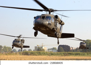 GRAVE, NETHERLANDS - SEP 17: American Black Hawk helicopters take off at the Operation Market Garden memorial on Sep 17, 2014 Grave, Netherlands. Market Garden was a large Allied operation in 1944.