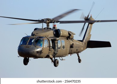 GRAVE, NETHERLANDS - SEP 17: American Black Hawk helicopter takes off at the Operation Market Garden memorial on Sep 17, 2014 Grave, Netherlands. Market Garden was a large Allied operation in 1944.