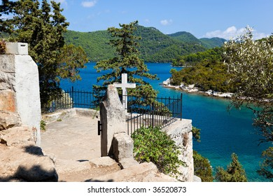 Grave on island Mljet in Croatia - travel background