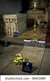 The grave of the poet and dramatist William Shakespeare in the Holy Trinity Church in Stratford upon Avon