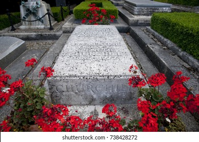 Grave Stone / Burial Site of Sir Winston Churchill - St Martin's Church, Bladon, Woodstock - 28th July 2013
