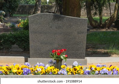 Grave stone with empty text box / cemetery