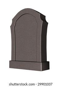 grave stone on white background - 3d illustration