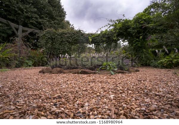 Gravel Garden Path Flower Beds Stock Photo Edit Now 1168980964