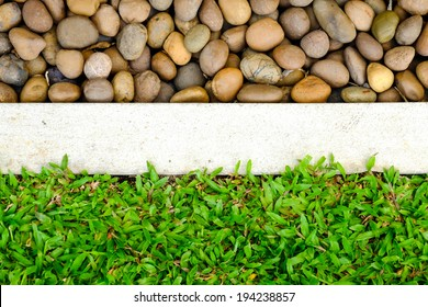 gravel and grass in the garden