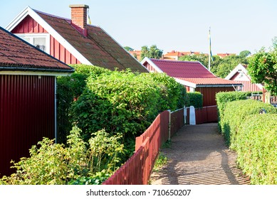 Gravel lane in allotment area with hedgerows and fences on either sides. Location Karlskrona, Sweden.