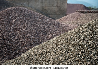 Gravel Mound : hills of stones & rock prepare for construction industrial. Pile rocks or gravel gray stone textures asphalt mix concrete in road constructions.