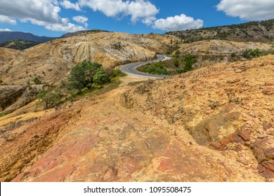 Gravel mountain road, Queenstown in Tasmania Australia.