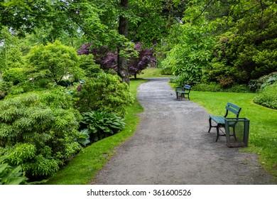 A gravel path running through the Halifax Public Gardens in Halifax, Nova Scotia, Canada