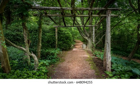 Gravel path through a country garden beneath a rustic wooden trellis on an early spring morning