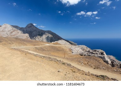 Gravel road down to Agios Ioannis in Southern Crete, Greece