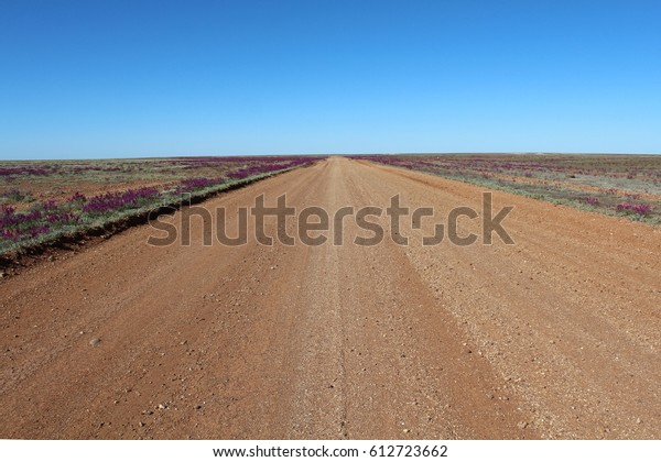 gravel road into nothing of Australia