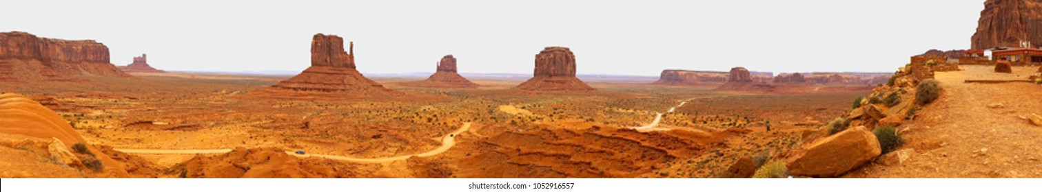 The gravel road loop leading through the buttes and brush of Monument Valley Southern Desert