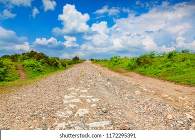 Gravel Road on Bodmin Moor, Cornwall, UK. The moor has been used as a location for the filming of the TV serial Poldark.