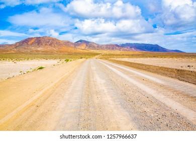 Gravel road on Fuerteventura Island, Canary Islands, Spain