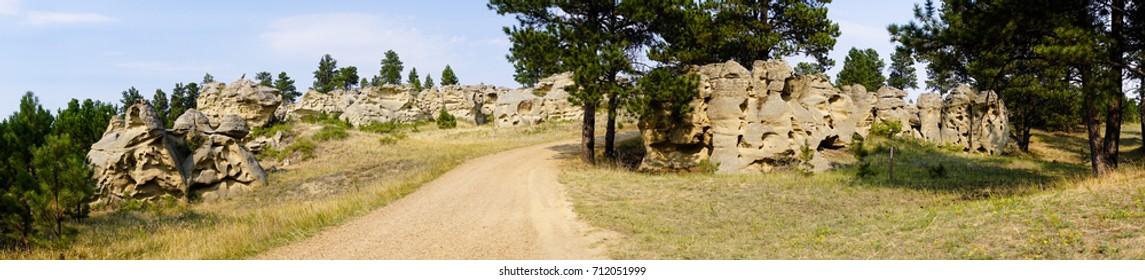 The gravel road through Medicine Rocks in Montana USA