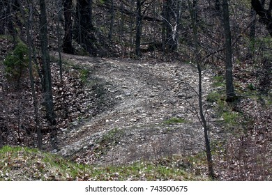Gravel road through rough wooded area, stark rocks and barren scenic