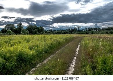 Gravel road through scenic landscape in a national park in Austria