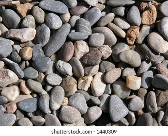 Gravel, small stones, pebbles.