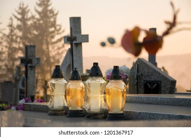 Gravelights on the grave on All Saints' Day