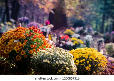 graves with All Saint Day decoration and leaves in autumn atmosphere