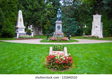 graves of Beethoven, Mozart and Schubert on the viennese central cemetery