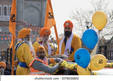 GRAVESEND - Apr 6: Performers take part in the festival of Vaisakhi, celebrating the birth of Sikhs,  on apr 6, 2018, Gravesend, UK