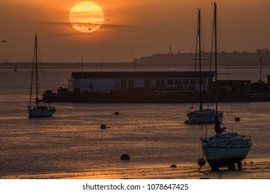 Gravesend - APRIL 26: Sun Rises over the River Thames at Gravesend on April 26, 2012, Gravesend, UK