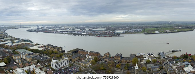 GRAVESEND, KENT, UK- 16 NOVEMBER 2017: Aerial view of the river medway and Tilbury docks, from Gravesend