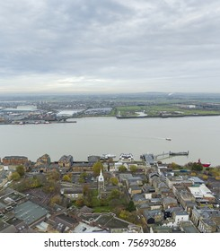 GRAVESEND, KENT, UK- 16 NOVEMBER 2017: Aerial view of Gravesend and the river medway
