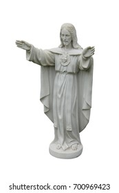 A Graveside Marble Statue of the Figure of Jesus.