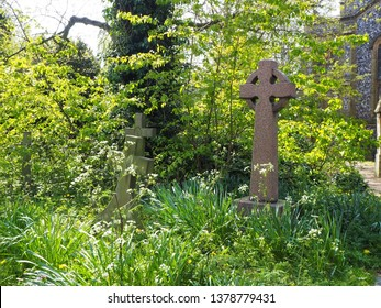 A gravestone cross in a green leafy church yard. The old stone gravestone from victorian times in the old church in Norwich, England.