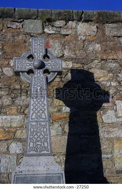 Gravestone cross at St Andrews in Scotland.  Typical Celtic cross