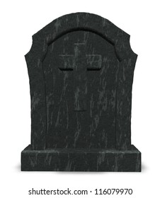 gravestone with cross symbol - 3d illustration